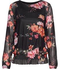 blouse-knitted blus långärmad svart brandtex