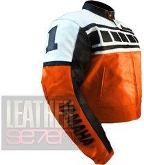 men yamaha 6728 orange leather motorcycle motorcycle  biker cowhide jacket coat