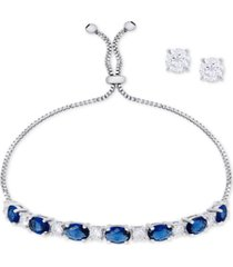 simulated sapphire slider bracelet & cubic zirconia stud earrings set in fine silver-plate, september birthstone