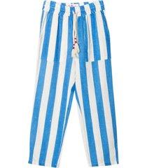 mc2 saint barth white and bluepainted stripes trousers