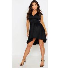 bardot plunge high low skater dress, black