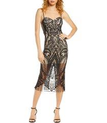 women's lulus love myself bustier lace cocktail dress, size medium - black