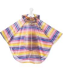 sonia rykiel enfant striped hooded rain poncho - yellow