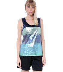 regata energia fashion paetãªs estampa galax - azul - feminino - dafiti