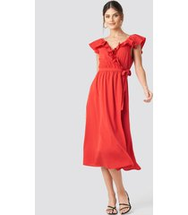 na-kd party high slit frill midi dress - red