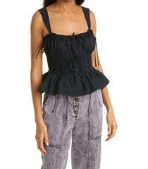 women's ulla johnson lulu tie peplum tank, size 6 - black