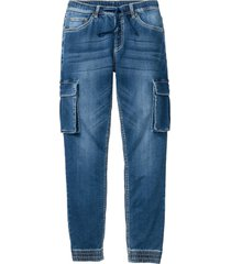 jeans cargo con elastico in vita slim fit straight (blu) - rainbow