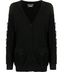 boutique moschino knitted crochet sleeve cardigan - black