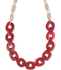 "style & co gold-tone red large link 44"" strand necklace, created for macy's"