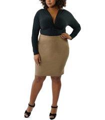 maree pour toi plus size faux-suede pencil skirt