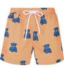 kiton short de natação xadrez com estampa de ursos - laranja
