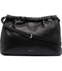 agnès b. drawstring-top leather shoulder bag - black