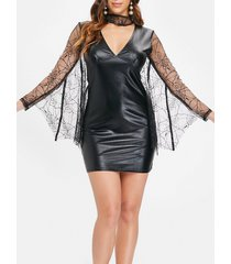 lace batwing faux leather mini dress