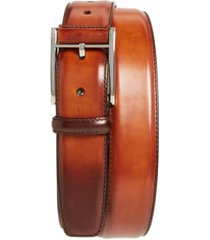 men's magnanni catalux leather belt, size 44 - cognac
