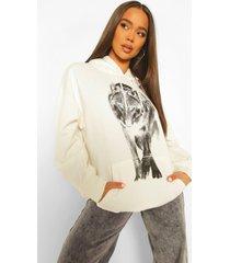 oversized wolf hoodie met print op de voor- en achterkant, ecru