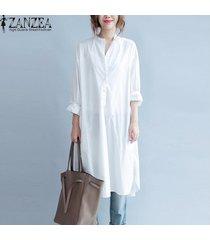 zanzea mujeres collar del soporte de la manga larga de gran tamaño de la blusa superior camisa de vestir casual off white -blanco