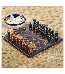marble and onyx mini chess set, 'coffee and mocha' (mexico)