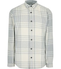 river island mens big & tall grey check twill long sleeve shirt