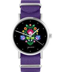 zegarek - folkowy czarny - fiolet, nylonowy