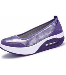 mujer  zapatos planos cuero con cuña zapatillas deportivas con plataforma