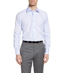 men's big & tall david donahue trim fit geometric dress shirt, size 18 - 36/37 - white