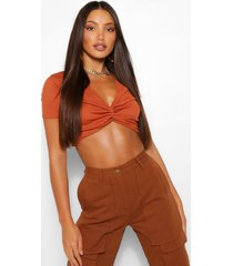 tall geribbelde gedraaide crop top, rust