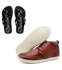 kit sapatênis masculino de couro cano curto e chinelo masculino conforto bordô