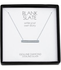 """diamond accent horizontal bar 18"""" pendant necklace in sterling silver"""