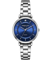 kenneth cole new york women's diamond dial silver-tone stainless steel bracelet watch 34mm