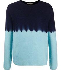 suzusan two tone tie-dye print jumper - blue