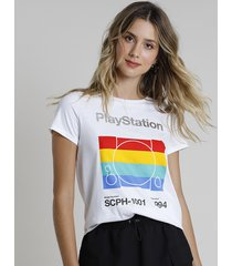 "blusa feminina ""playstation"" manga curta decote redondo off white"
