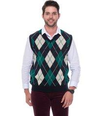 colete jacquard escocês passion tricot marinho - kanui