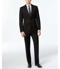 calvin klein solid wool black slim x fit suit