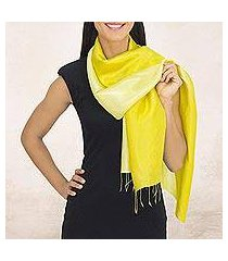rayon and silk blend scarf, 'shimmering lemon' (thailand)
