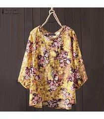 zanzea mujeres de cuello redondo y estampado floral étnico tapas de la camisa de la blusa asimétrica floja -amarillo claro