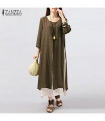 6 colores zanzea vestido de lino de algodón vintage para mujer vestidos sueltos largos de manga 3/4 sueltos vestidos de talla grande s-5xl vestidos (café) -marrón
