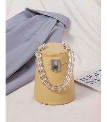 bolso de hombro con diseño de cadena de color caqui