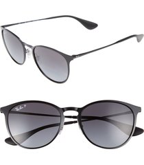 men's ray-ban erika 54mm polarized sunglasses - shiny black