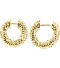 bondeye jewelry 14kt yellow gold ribbed hoop earrings