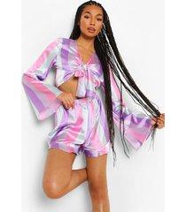 roze gestreept sherbet pyjama set met geplooid hemdje en shorts, multi