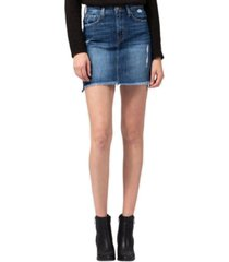 flying monkey high rise raw step hem with side slit mini skirt