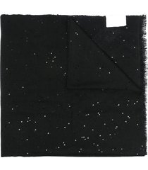 brunello cucinelli sequin cashmere-blend scarf - black