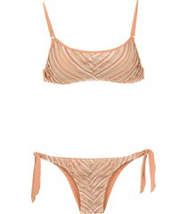 amir slama printed bikini top - neutrals