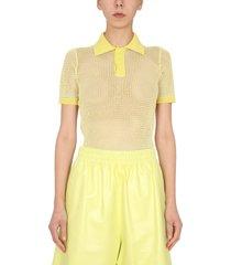 bottega veneta cotton and nylon mesh polo shirt
