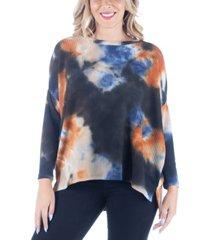 women's plus size oversized tie dye dolman tunic top