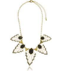 maxi colar le diamond geometricos esmaltados preto e branco - kanui