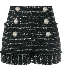 balmain frayed tweed shorts - black