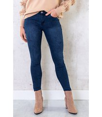 skinny print jeans high waist blauw