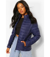 gewatteerde jas met hoge hals, marineblauw