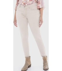 jeans 5 bolsillos con strass en bolsillos beige lorenzo di pontti